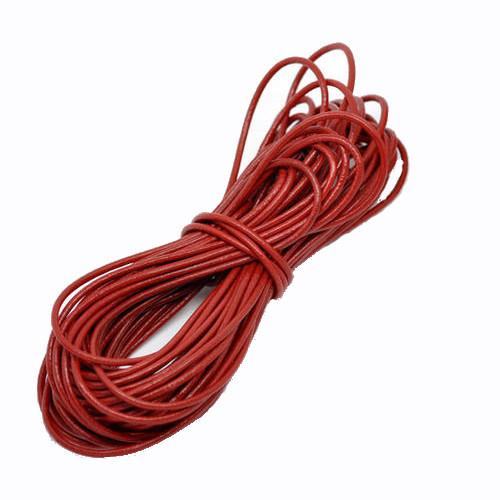 Cord, Leather, (Dyed), Red, 2mm, Round. Sold Per Meter - BEADED CREATIONS