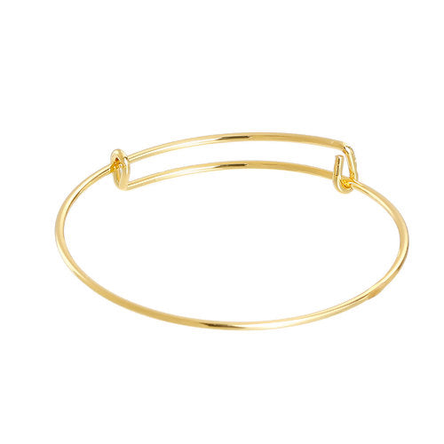 Bangle, Adjustable, Alloy, Gold Plated, Double Bar, 20.5-25.5cm. Sold Individually - BEADED CREATIONS