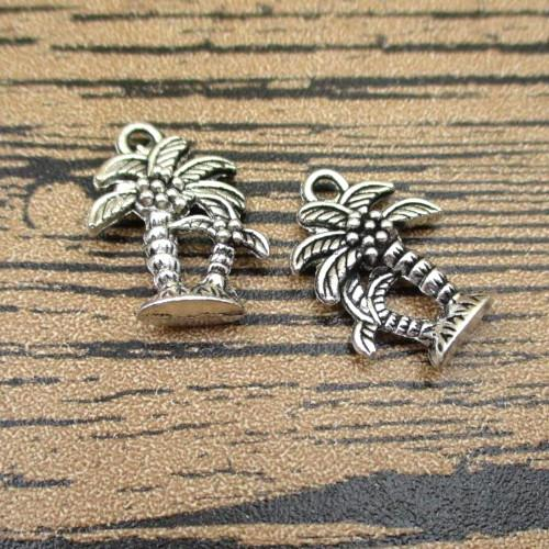 Antique Silver Palm Coconut Tropical Tree Double Sided Charms 18mm - BEADED CREATIONS