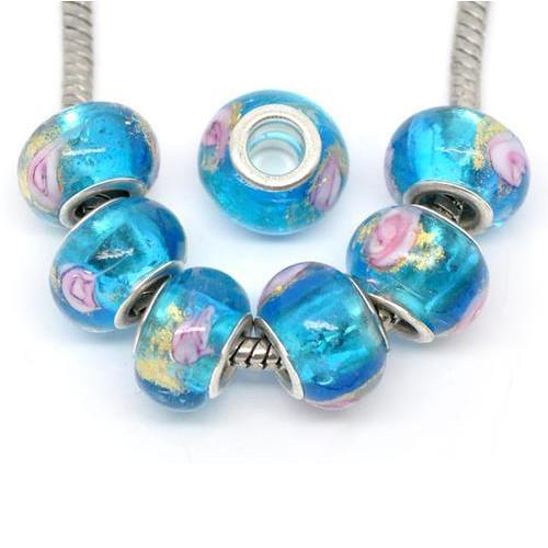 Aqua Blue Lampwork Large Hole Rondelle Beads With Pink Flower And Gold Sand - BEADED CREATIONS