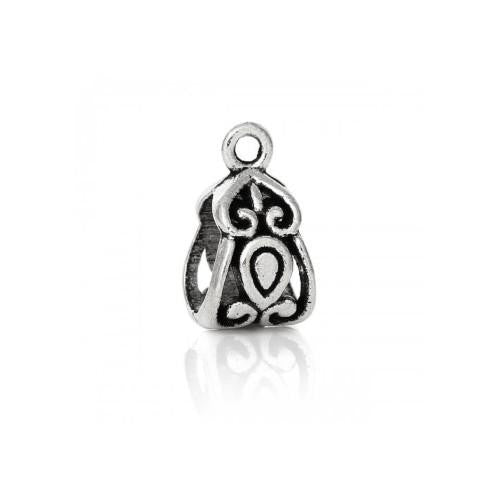 Bails, Closed, Triangle, Ornate, Filigree, Antique Silver, Alloy, 14mm. Sold Individually - BEADED CREATIONS
