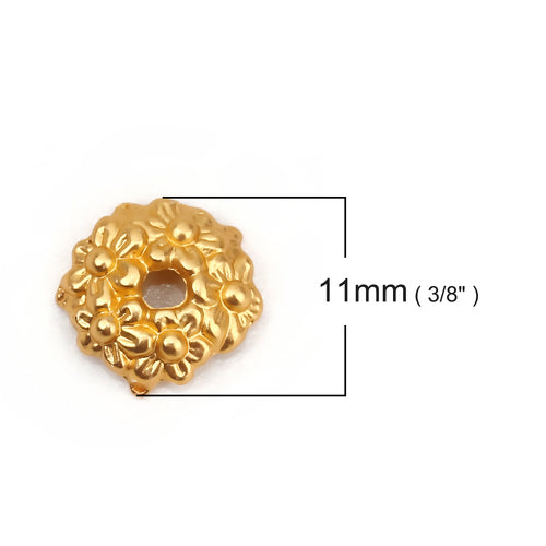 Bead Caps, Flower Design, 11x10mm, Round, Matt Gold, Fits 12mm Beads. Sold Individually - BEADED CREATIONS