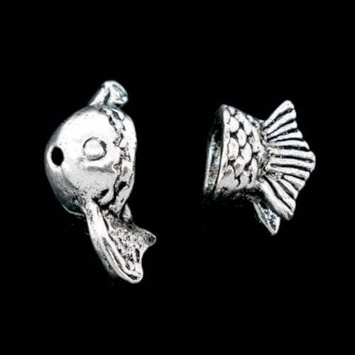 Bead Caps, Fish, Two Piece, Set, Antique Silver, Alloy, 23mm, Fits 8-10mm Beads. Sold Per Set - BEADED CREATIONS