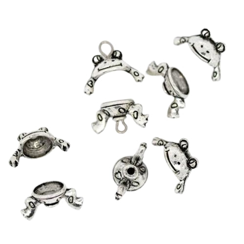 Bead Caps, Frog, Two Piece, Set, Antique Silver, Alloy, 15mm, Fits 8-10mm Beads. Sold Per Set - BEADED CREATIONS