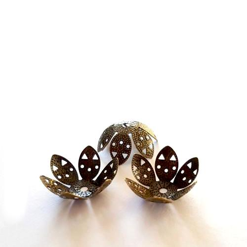 Bead Caps, Petal, Filigree, Antique Bronze, Alloy, 20mm. Sold Individually - BEADED CREATIONS