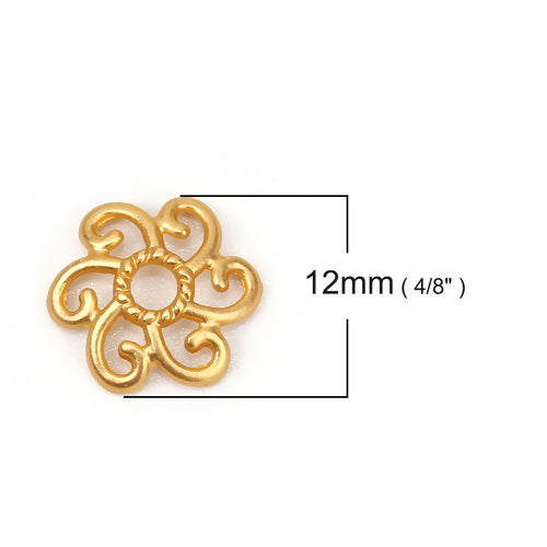 Bead Caps, Round, Open With Swirls, 12x11mm, Matt Gold, Fits 14mm Beads. Sold Individually - BEADED CREATIONS