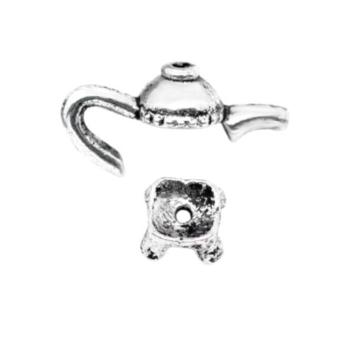 Bead Caps, Teapot, Two Piece, Set, Antique Silver, Alloy, 21mm, Fits 8-10mm Beads. Sold Per Set - BEADED CREATIONS