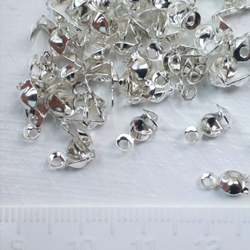Bead Tips, Silver Tone, Alloy, Clamshell, Bottom Clamp-On With Closed Loop, 7.5mm, Sold Per Pkg Of 10 - BEADED CREATIONS