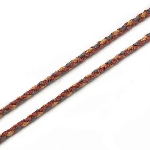 Beading Cord, Cotton, Braided, Brown, Grey, 2mm. Sold Per Meter - BEADED CREATIONS