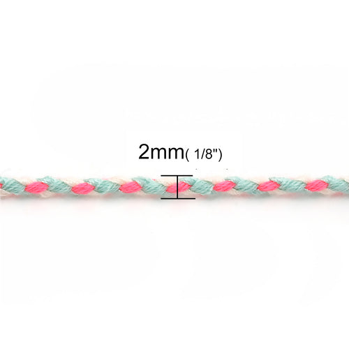 Beading Cord, Cotton, Braided, Neon Pink, Blue, 2mm. Sold Per Meter - BEADED CREATIONS
