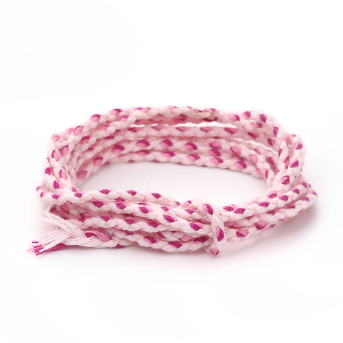 Beading Cord, Cotton, Braided, Pink, 2mm. Sold Per Meter - BEADED CREATIONS