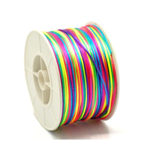 Beading Cord, Satin, Rattail, Knot & Braid, Rayon, Neon, Rainbow, 1.5mm. Sold Per Meter - BEADED CREATIONS