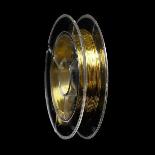 Beading Wire, Gold Plated, 0.3mm, Round, Copper, 28 Gauge. Sold Per 10 Meter Spool - BEADED CREATIONS