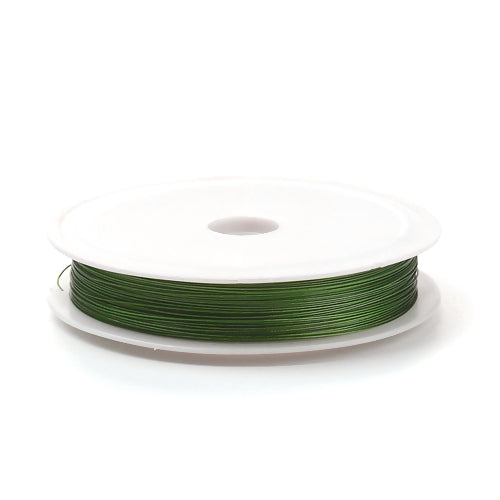 Beading Wire, Tiger Tail, Olive Green, 0.45mm, Round, Steel, 26 Gauge. Sold Per 50 Meter Spool - BEADED CREATIONS