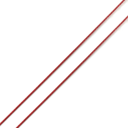 Beading Wire, Tiger Tail, Wine Red, 0.45mm, Round, Steel, 26 Gauge. Sold Per 50 Meter Spool - BEADED CREATIONS