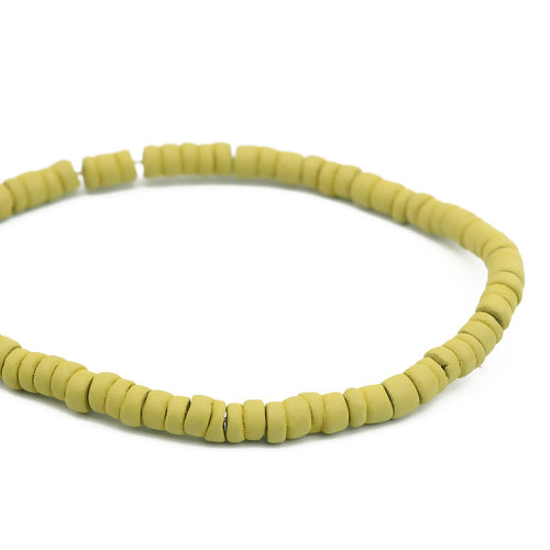 Beads, Heishi, Painted, Coconut, Palm Tree Wood, Lime Green, 6mm. Sold Per Strand - BEADED CREATIONS
