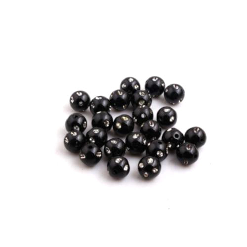 Beads, Acrylic, Black, Rhinestone, Bling, Round, 8mm. Sold Per Pkg Of 20 - BEADED CREATIONS