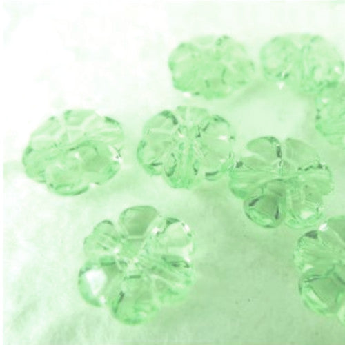 Beads, Acrylic, Daisy, Flower, Faceted, Transparent, Light Green, 10mm. Sold Individually - BEADED CREATIONS