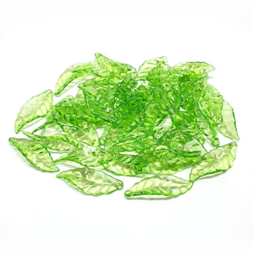 Beads, Acrylic, Lucite, Leaf, Transparent, Green, 28mm. Sold Individually - BEADED CREATIONS