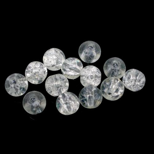 Beads, Crackle Glass, Clear, Round, 4mm. Sold Individually - BEADED CREATIONS