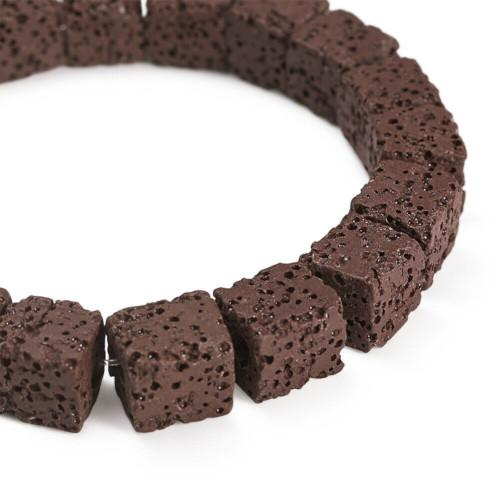 Beads, Gemstone, Lava Rock, Natural, Cube, Brown, 8mm. Sold Per Strand - BEADED CREATIONS