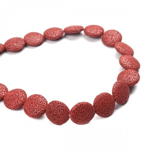 Beads, Gemstone, Lava Rock, Natural, Puffy, Coin, Brick Red, 27mm. Sold Per 37cm Strand - BEADED CREATIONS