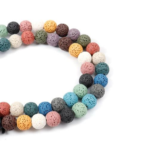 Beads, Gemstone, Lava Rock, Natural, Round, Assorted Colors, 10mm. Sold Per 40cm Strand - BEADED CREATIONS