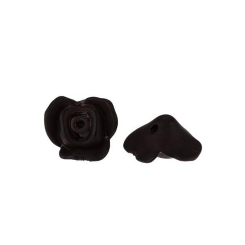 Beads, Lucite, Rose, Flower, Frosted, Black, 15mm. Sold Individually - BEADED CREATIONS
