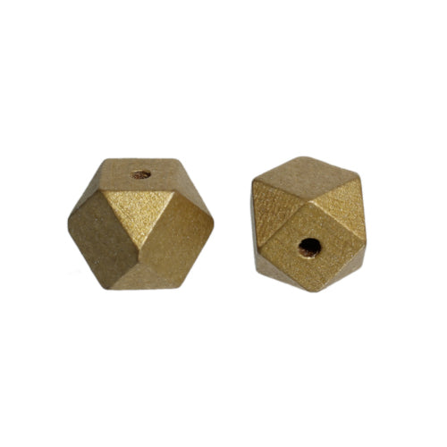 Beads, Wood, Natural, Hinoki, Japanese Cypress, Geometric, Polygon, Golden, 20mm. Sold Individually - BEADED CREATIONS