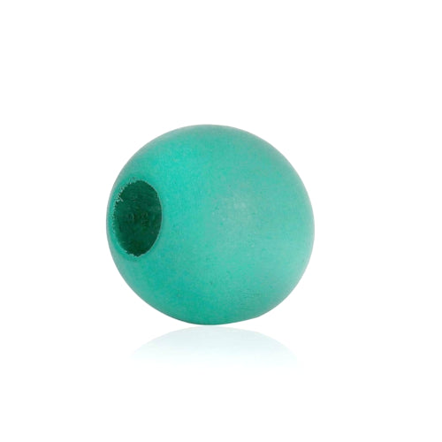 Beads, Wood, Natural, Round, Aqua, Painted, 15mm. Sold Individually - BEADED CREATIONS
