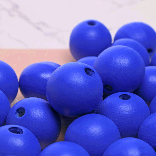 Beads, Wood, Natural, Round, Royal Blue, Painted, 15mm. Sold Individually - BEADED CREATIONS