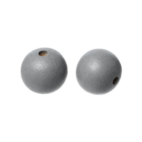 Beads, Wood, Round, Medium Grey, 14mm, Sold Individually - BEADED CREATIONS