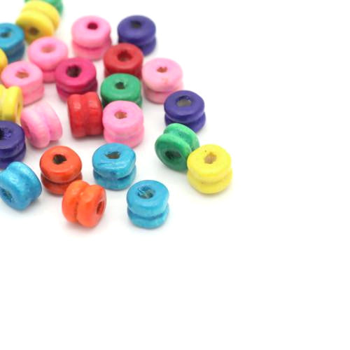 Beads, Wood, Spacer, Dumbell, Assorted Colors, 10mm, Sold Per Pkg Of 100 - BEADED CREATIONS
