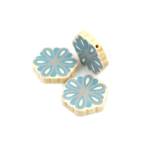 Beads, Wood, Spacer, Round, Painted, Floral, Blue, Grey, 28mm, Sold Individually - BEADED CREATIONS