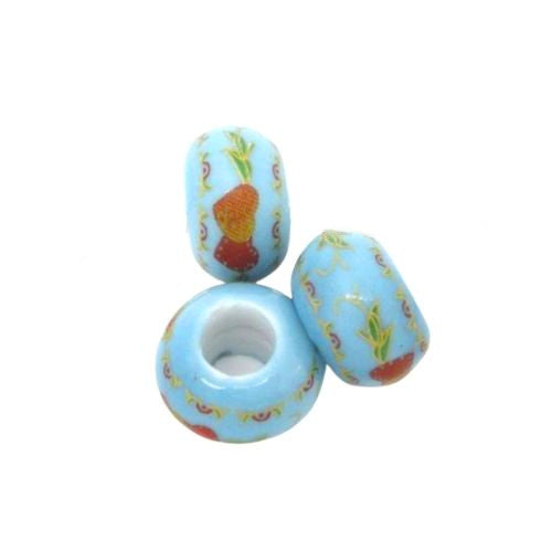 Blue Heart Design Ceramic Rondelle Large Hole Beads - BEADED CREATIONS