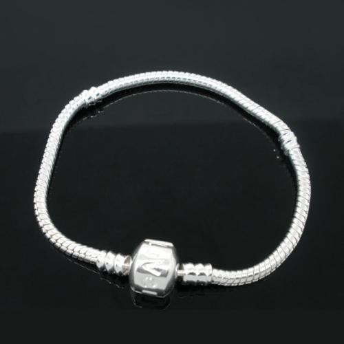 Bracelet, Snake Chain, Alloy, Silver Plated, 3mm, Threaded, Snap Clasp, 22cm, Sold Individually - BEADED CREATIONS