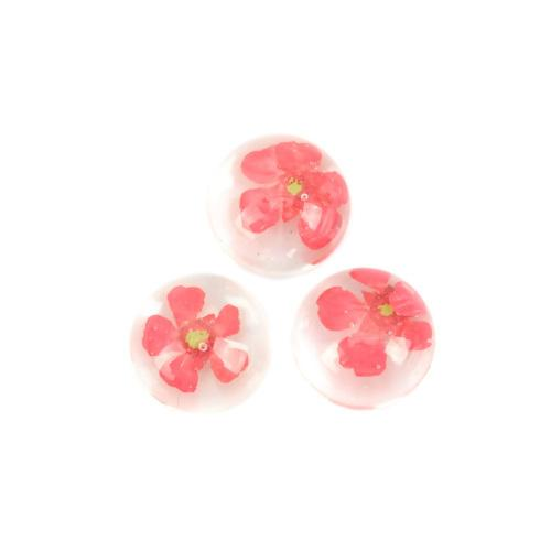 Cabochon, Dome, Seals, 13mm, Round, Resin, Dried Flowers, Red, Transparent, Sold Individually - BEADED CREATIONS