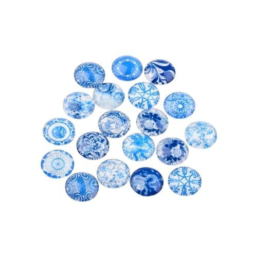 Cabochons, Glass, Dome, Seals, Flat Back, 12mm, Assorted, Porcelain Designs. Sold Individually - BEADED CREATIONS