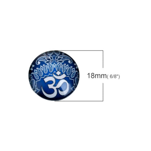 Cabochons, Glass, Dome, Seals, Flat Back, 18mm, Transparent, Yoga Healing OM /Aum Symbol. Sold Individually - BEADED CREATIONS