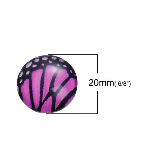 Cabochons, Glass, Dome, Seals, Flat Back, 20mm, Transparent, Assorted, Butterfly Wings. Sold Individually - BEADED CREATIONS