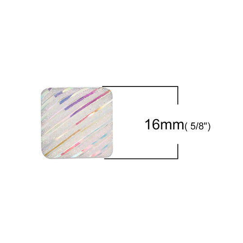Cabochons, Resin, AB, Rainbow, Square, White, Glitter, Striped Pattern, 16mm. Sold Individually - BEADED CREATIONS