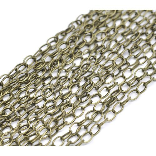 Chain, Cable, Textured, Open Link, Bronze, Alloy, 8x5.5mm. Sold Per Meter - BEADED CREATIONS