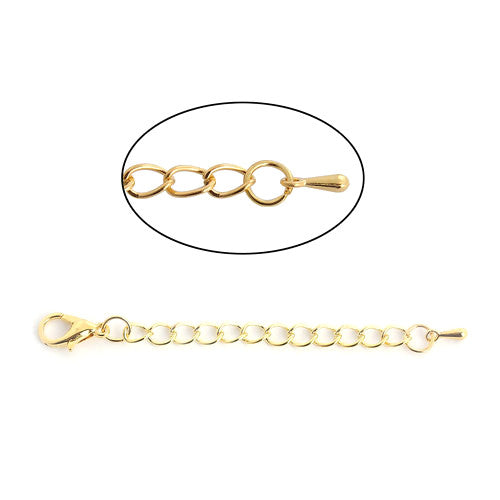 Chain, Extender, With Drop, Gold Plated, Iron Based Alloy, 7.5cm. Sold Individually - BEADED CREATIONS