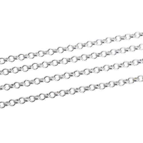 Chain, Rolo, Open Link, Silver Plated, Alloy, 3.8mm. Sold Per Meter - BEADED CREATIONS