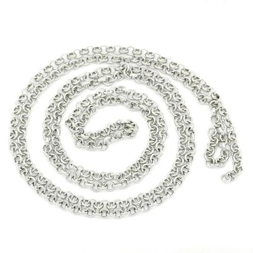 Chain, Rolo, Open Link, Silver Tone, Alloy, 4mm. Sold Per Meter - BEADED CREATIONS