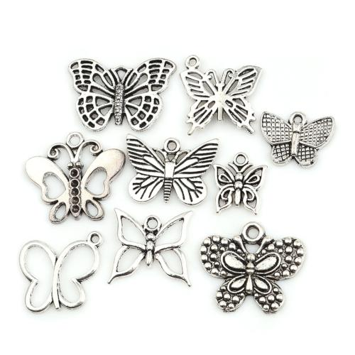 Charm Set, Butterfly Theme, Antique Silver, Assorted. Sold Per 9-Piece Set - BEADED CREATIONS
