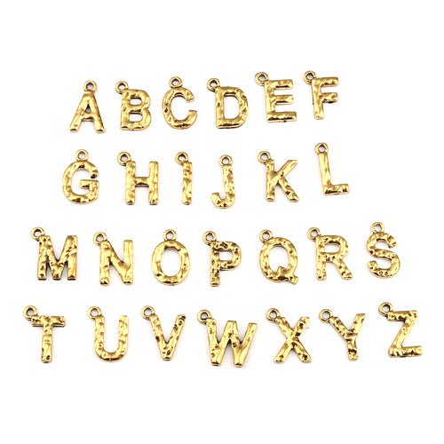 Charms, Alphabet, Capital Letters, Antique Gold, Plated, Alloy, A-Z,  13x11mm-15x10mm. Sold Per Set Of 26 Pieces - BEADED CREATIONS