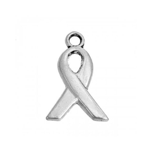 Charms, Awareness, Ribbon, Silver Tone, Alloy, 14mm. Sold Per Pkg Of 10 - BEADED CREATIONS