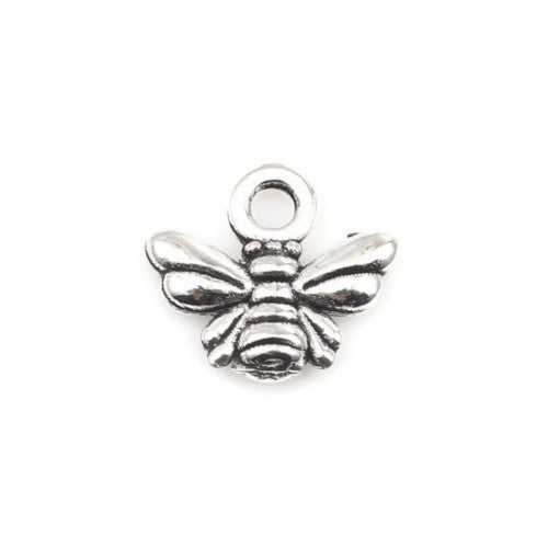 Charms, Bee, Antique Silver, Alloy, 11mm - BEADED CREATIONS