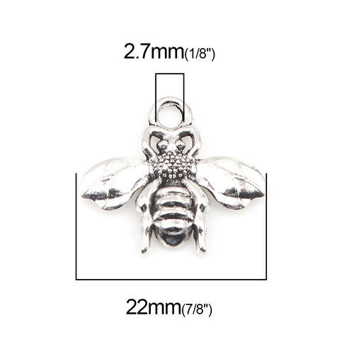 Charms, Bee, Antique Silver, Alloy, 22mm - BEADED CREATIONS